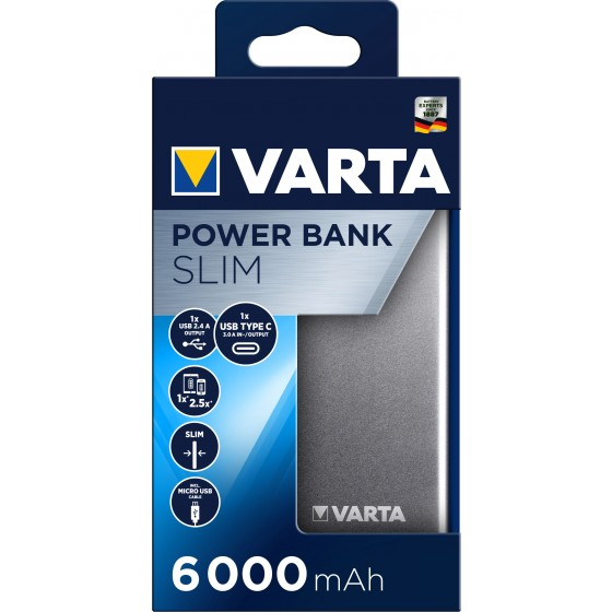 Varta Slim Power Bank 6000mAh, 57965 101 111