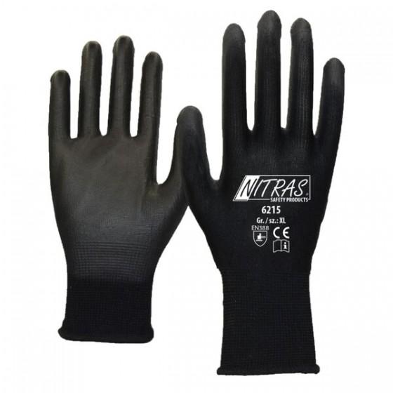 NITRAS 6215 Nylonhandschuhe 1 Paar Gr. L/ 9 schwarz