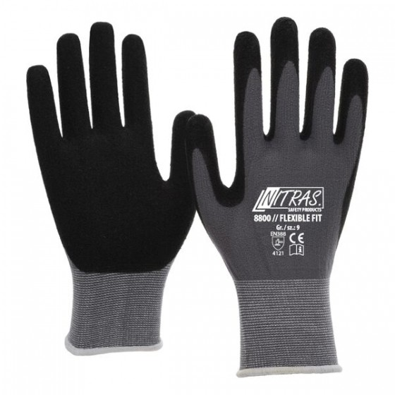 NITRAS 8800 Flexible Fit 1 Paar Gr. 8 grau/schwarz