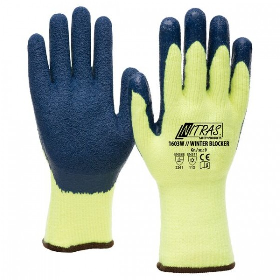 NITRAS 1603W Winter Blocker 1 Paar Gr. 10 gelb/blau