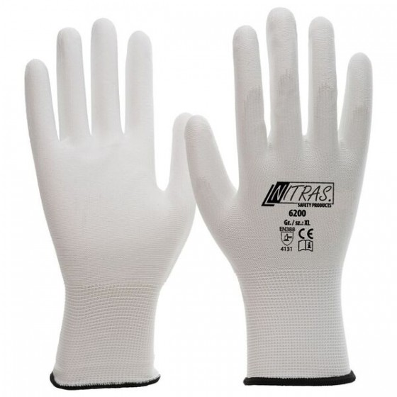 NITRAS 6200 Nylonhandschuhe 1 Paar Gr. XL weiß