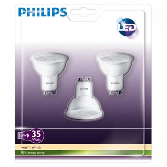 Philips LED Lampe / Spot 3,5W, 2700 K, GU10, 3er Pack