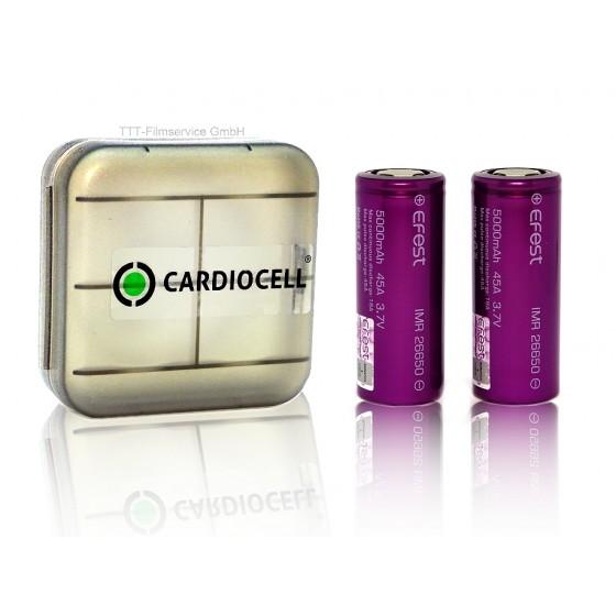 2x EFEST 26650 3,7V, flat 5000mAh 45A inkl Cardiocell Aufbewahrungsbox