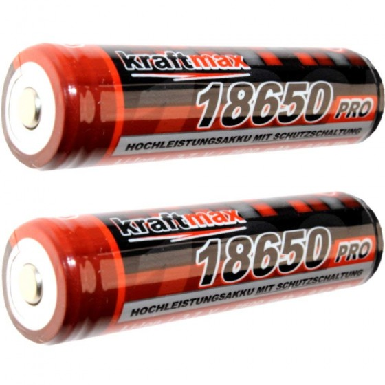Kraftmax 18650 Pro Akku mit PCB Schutzschaltung - speziell für LED Taschenlampen ( 3,7V / 9,62 Wh )