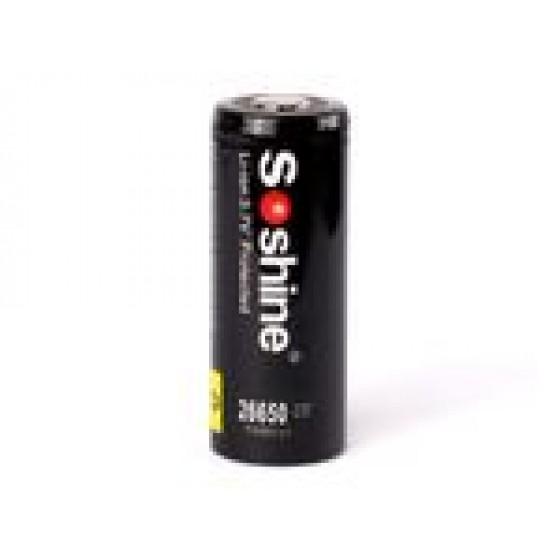 Soshine 26650 Li-Ion. Akku 5500mAh 3,6 - 3,7 V mit erhöhtem Pluspol