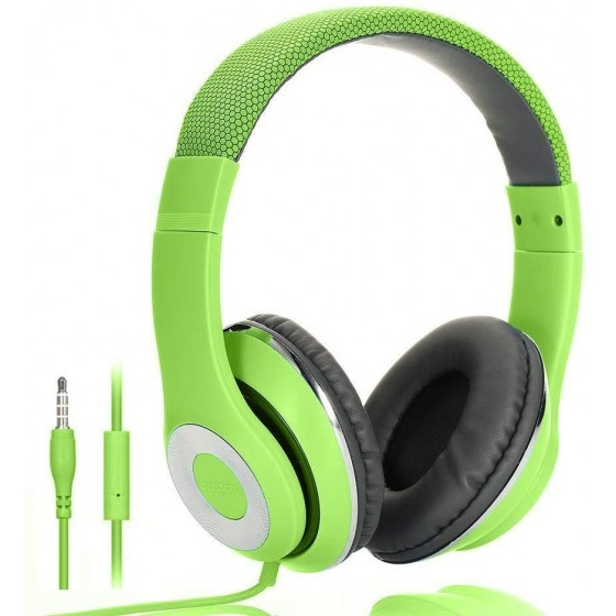 AUSDOM Faltbare Headphone mit Mikrofon grün Wired Over-Ear Headset Leicht Studiokopfhörer mit HiFi Stereo für iPhone, iPad, Samsung, Huawei, HTC, TV, Laptop, Tablet