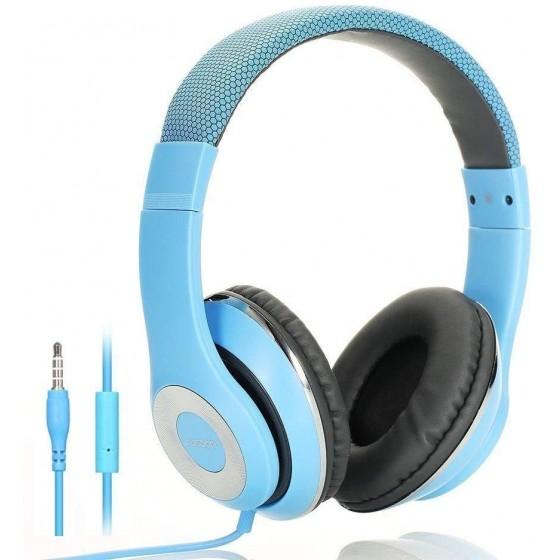 AUSDOM Faltbare Headphone mit Mikrofon blau, Wired Over-Ear Headset Leicht Studiokopfhörer mit HiFi Stereo für iPhone, iPad, Samsung, Huawei, HTC, TV, Laptop, Tablet