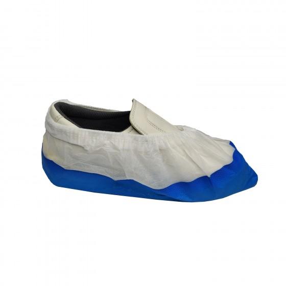 NITRAS Überschuhe weiß mit CPE-Laufsohle mit blauer Sohle, Vliesstoff, Gummiband 50 Stück je Beutel