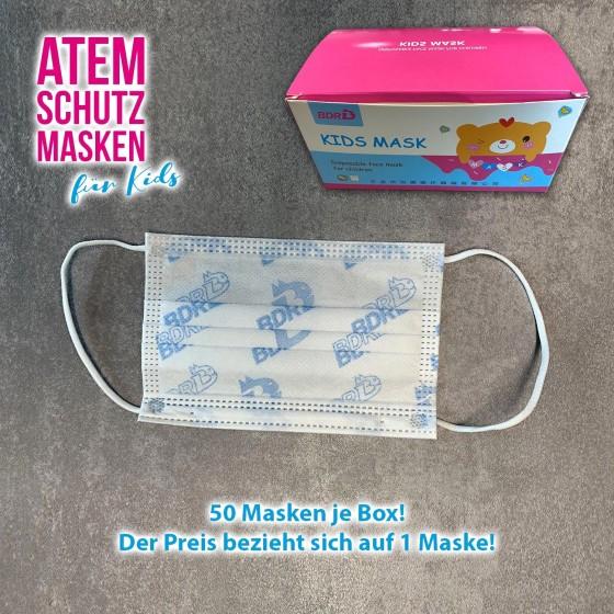 Kinder-Atem-Schutzmaske für Bär pink 3-lagig in Box