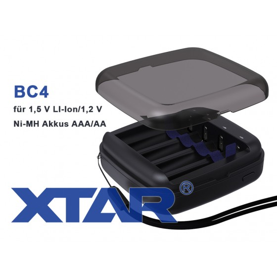 Xtar BC4 – Ladegerät + 2 LiIon Akkus + USB Adapter 2,1A