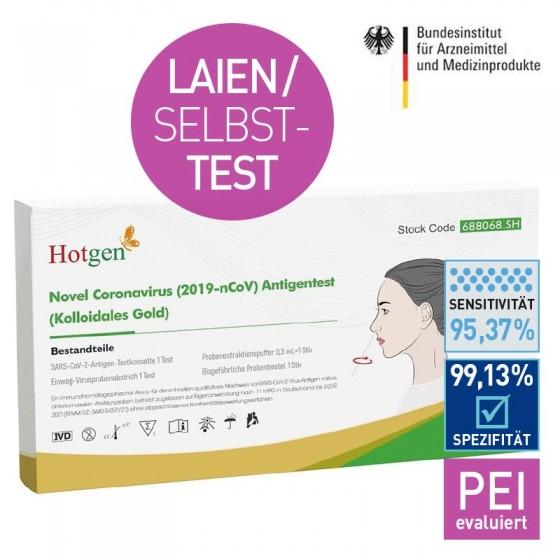 Hotgen Antigentest (2019-nCoV) - Laientest - Selbsttest für zu Hause - 5 Stk. Einzelverpackt