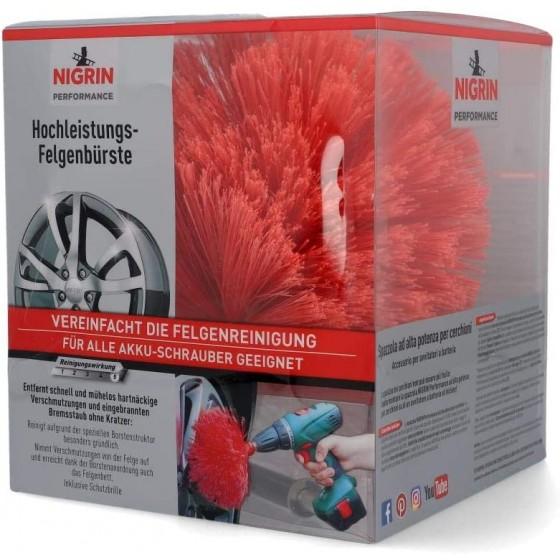Nigrin Performance Hochleistungs-Felgenbürste, Twister Reinigungsbürste für Autofelgen, mit 2.000 Hochleistungs-Reinigungsborsten