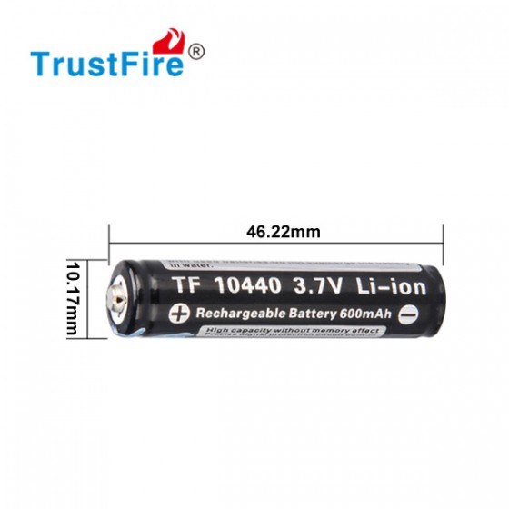 Trustfire 10440 - 600mAh 3,6V - 3,7V geschützte Li-Ionen-Zelle (Flame)
