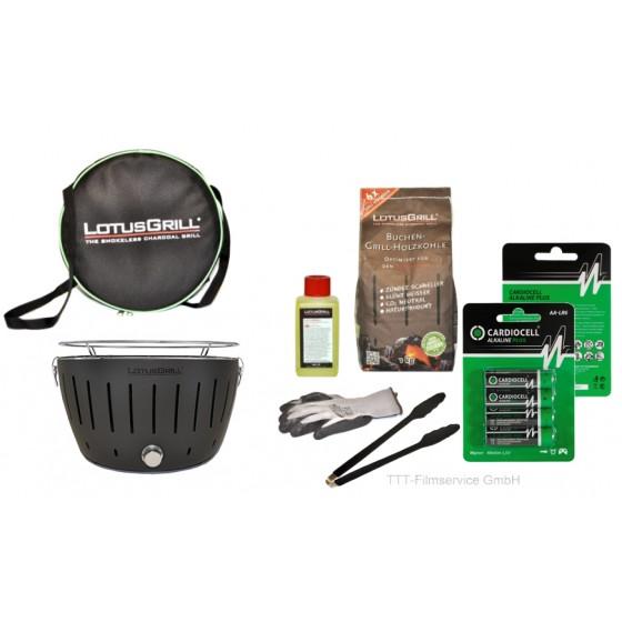 Lotusgrill Anthrazit Premiumset inkl.Grillhandschuh,Holzkohle 1 kg,Brennpaste 200ml,Pack Batterien AA,Transporttasche