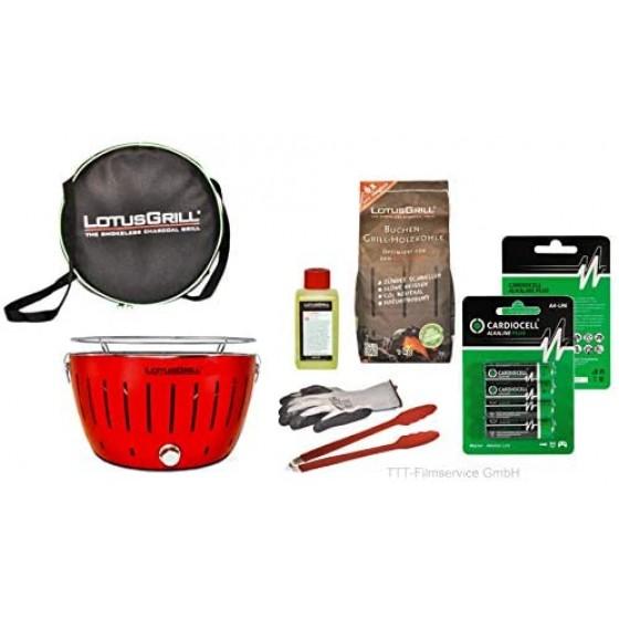 Lotusgrill Feuerrot Premiumset inkl.Grillhandschuh,Holzkohle 1 kg,Brennpaste 200ml,Pack Batterien AA,Transporttasche