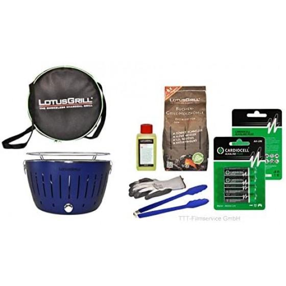 Lotusgrill Tiefblau Premiumset inkl.Grillhandschuh,Holzkohle 1 kg,Brennpaste 200ml,Pack Batterien AA,Transporttasche