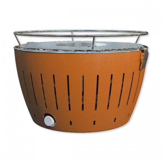 LotusGrill G340 Holzkohle Tischgrill mandarinenorange + Paste 500ml + Kohle 2,5 kg