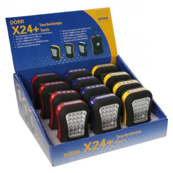 X24+ LED-Taschenlampen 12er-Display mit Magnet und Aufhängung inkl. 3xAAA