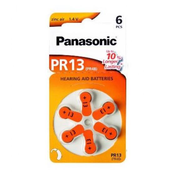 Panasonic PR13 (PR48) Hörgeräte-Knopfzellen 300 mAh 1,4V im 6er-Blister