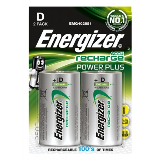 Energizer NiMH Akkumulator Power Plus, Mono (D), 2500 mAh 2er Blister