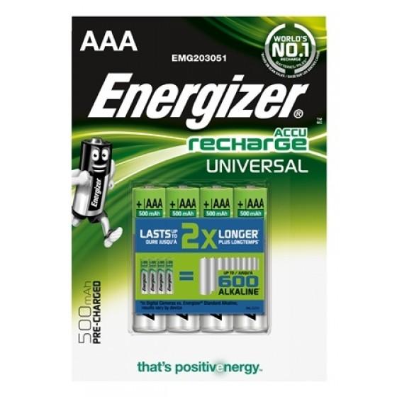 Energizer Micro-Akku UNIVERSAL (AAA), 500 mAh, vorgeladen in 4er Blister