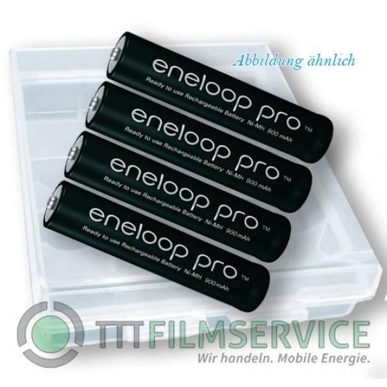 4er-Box bestückt mit Eneloop Mignon Akku Pro BK-3HCDE AA 2500mAh