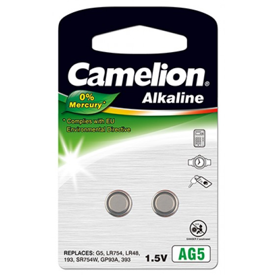 "Camelion AG5 LR750/LR754 Alkaline im 2er-Blister 1,5V ""No Mercury"""