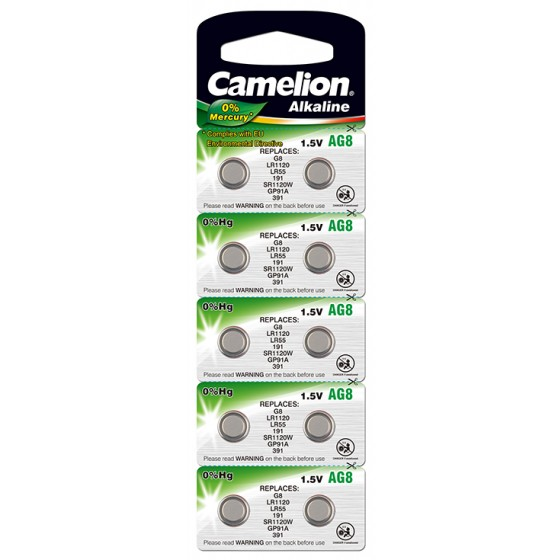 "Camelion AG8/LR55/LR1121/391 im 10er-Blister ""No Mercury"""