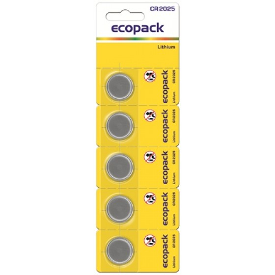 Knopfzelle CR2025 3V Lithium in 5er-Blister ecopack