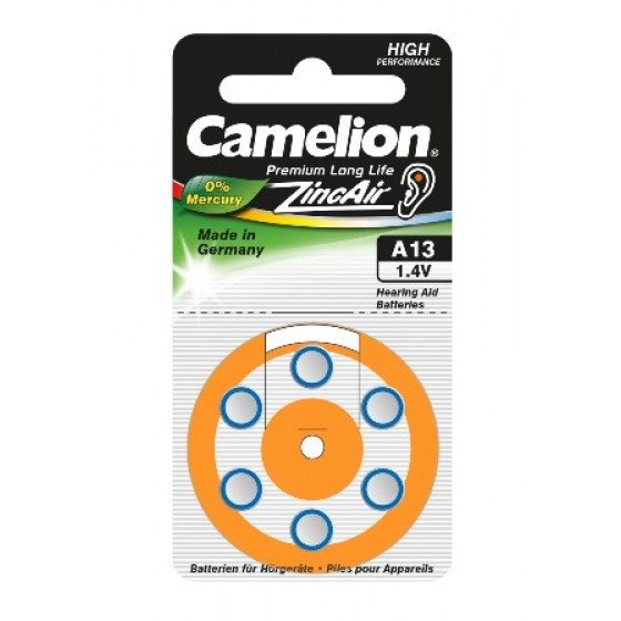 "Camelion A13 Hörgeräteknopfzelle in 6er-Blister ""No Mercury"""