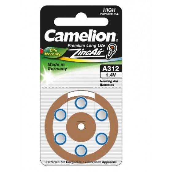 "Camelion A312 Hörgeräteknopfzelle in 6er-Blister ""No Mercury"""