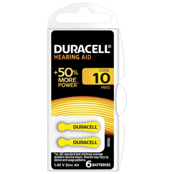 DURACELL HEARING AID DA10 (ZL4) Hörgeräte-Knopfzellen  1,4V