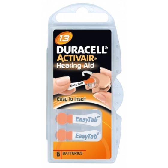 Duracell/ACTIVAIR DA13 Hörgeräte-Knopfzellen in 6er-Blister 1,45V 310mAh