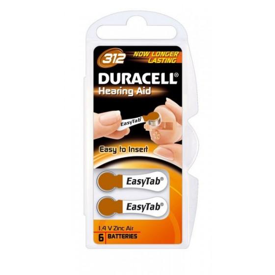 Duracell DA312 (ZL3) Hörgeräte-Knopfzellen Easy Tab 1,4V