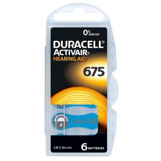 Duracell/ACTIVAIR DA675 Hörgeräte-Knopfzellen in 6er-Blister 1,45V 650mAh
