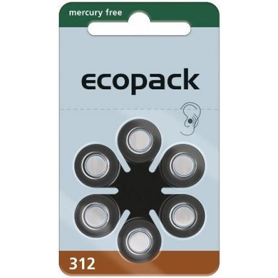 ECO 312 (PR41) Hörgeräteknopfzellen Mercury Free 1,45V 161mAh 1 VPE: 60 Stück
