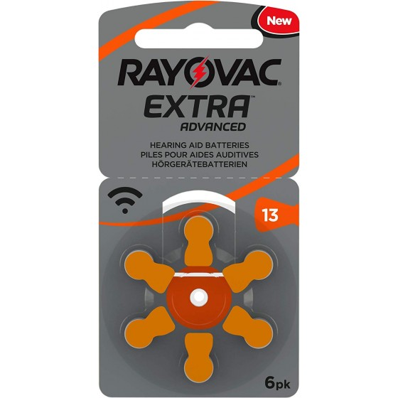 600 x Rayovac Extra Advanced 13 Orange 1,45V Hörgeräte Batterien 100 x 6er Blister