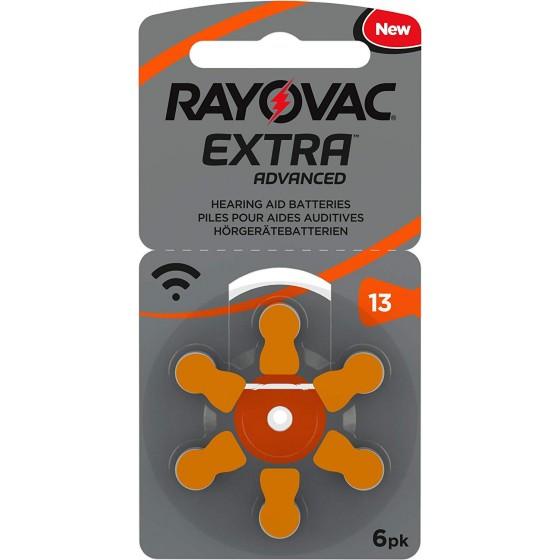 6 x Rayovac Extra Advanced 13 Orange 1,45V Hörgeräte Batterien 1 x 6er Blister