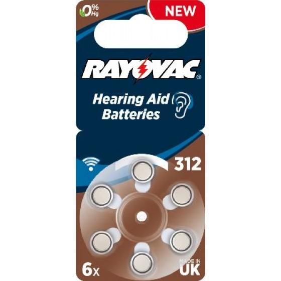 Rayovac 312  ACOUSTIC (ZL3/PR41) Hörgeräteknopfzellen 1,45V 180mAh