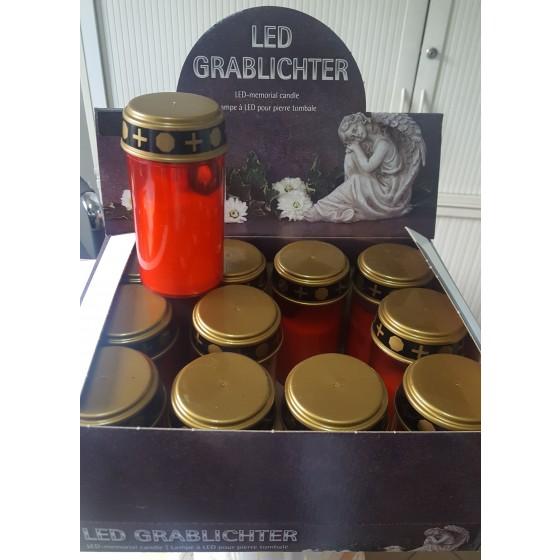 LED-Grablicht rot mit flackerndem Kerzenschein inkl. 2x AA-Batterien im 12er-Display