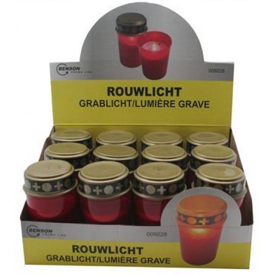 LED-Grablicht rot mit flackerndem Kerzenschein inkl. 2x Duracell Industrial MN1400 im 12er-Display