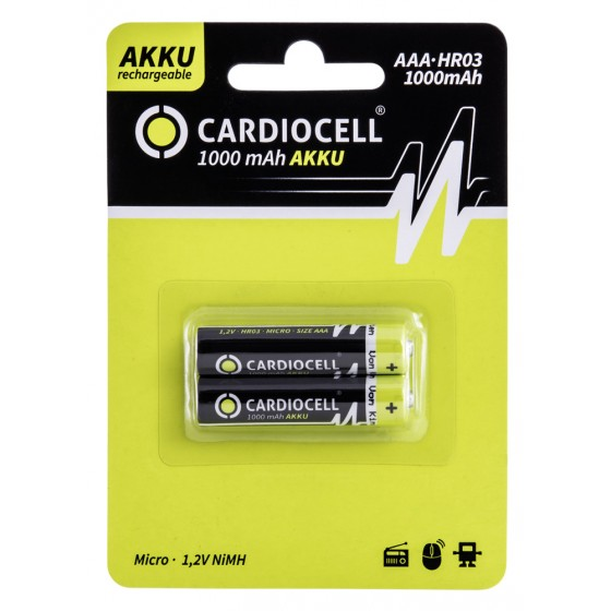 CARDIOCELL Micro-Akku Serie 1100 in 2er-Blister mit 1000mAh