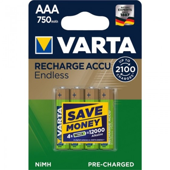 Varta Micro-Akku 56673 101 404 (750 mAh) Endless Energy in 4er Blister