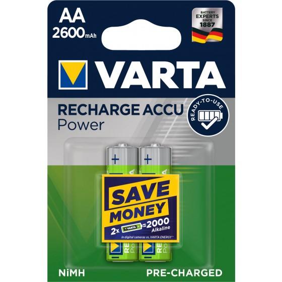 2 x Varta Recharge Accu Power Akku 5716 AA Mignon HR6 Akku 2600mAh 1,2V