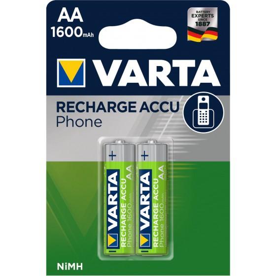 Varta Mignon-Akku T399 58399 201 402 Phone Power 1,2V (1600mAh) in 2er-Blister