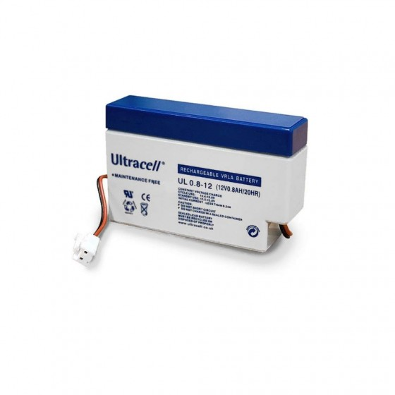 Ultracell UL0.8-12AMP 12V 0,8Ah mit AMP Stecker & Kabelterminal Standby Bleiakku AGM