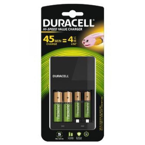 Duracell 4 Std.-Hi Speed-Ladegerät mit 2AA-Akkus 1.300 mAh + 2AAA-Akkus 750 mAh (CEF14)