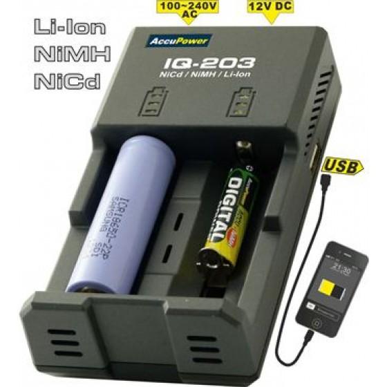 Accu Power IQ203 Intelligentes Ladegerät für Li-Ion/NiCd/NiMH