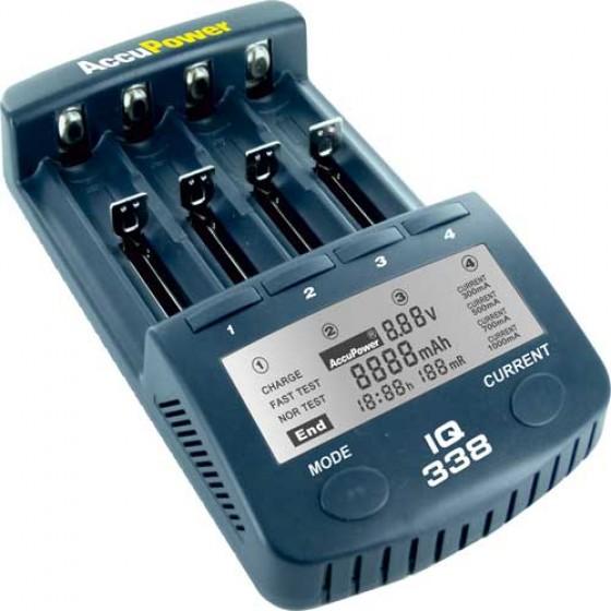 Accu Power IQ338 Intelligentes Ladegerät und Akku Analyzer für Li-Ion/NiCd/NiMH