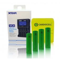 XTAR Ladegerät VC4, Li-Ion / Ni-MH LCD inkl. 4x Sony US18650VTC6 mit Akkubox von Cardiocell